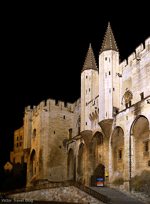 The Popes Palace at night. Avignon, France.