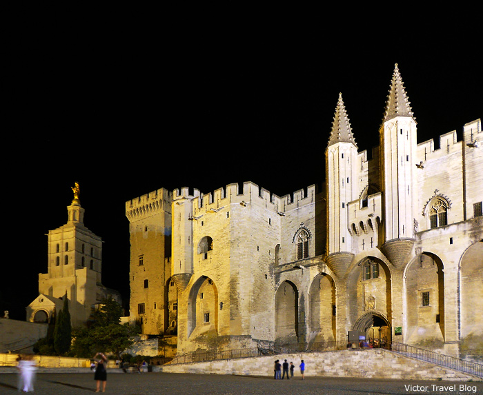 The Popes' Palace at night. Avignon, France.