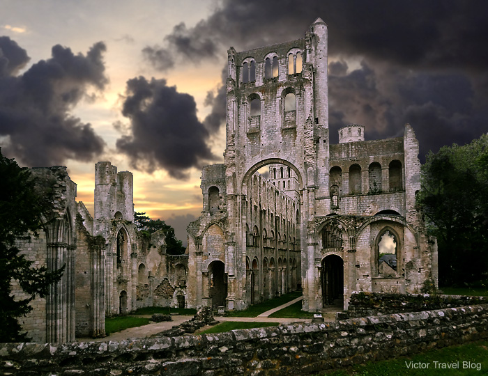 The ruins of the Benedictine Abbey of Jumieges in Normandy, France.