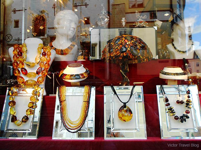 Amber souvenirs in Tallinn, Estonia.