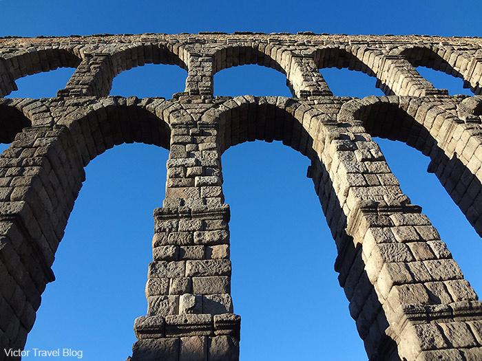 The Aqueduct of Segovia, located in the emblematic Plaza del Azoguejo. Spain.