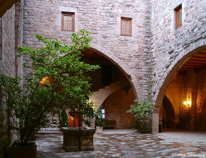A patio of the Parador Duques de Cardona Hotel, Catalonia, Spain.