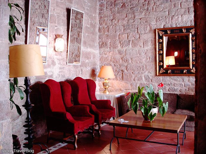 Interior of the Parador Duques De Cardona Hotel, Catalonia, Spain.