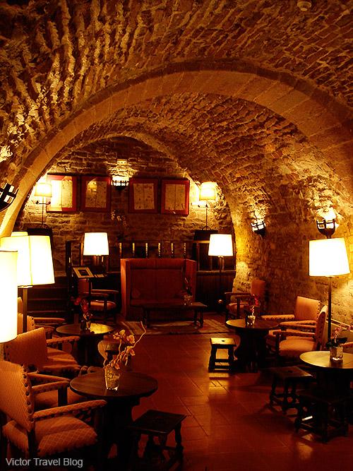 An interior of the Parador Duques De Cardona Hotel, Catalonia, Spain.