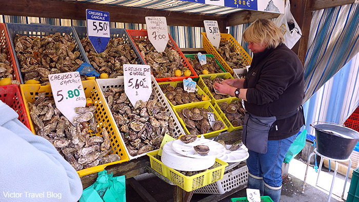 Oysters market. Cancale, Brittany, France.