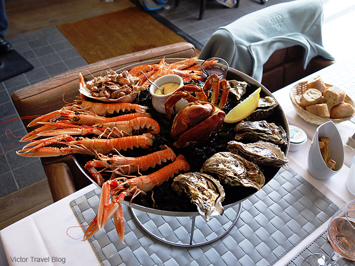 Seafood dish in restaurant of Cancale, France.