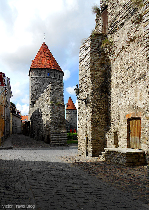 Ancient stone walls of Tallinn, Estonia.