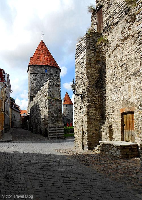Ancient stone walls of Tallinn, Estonia.