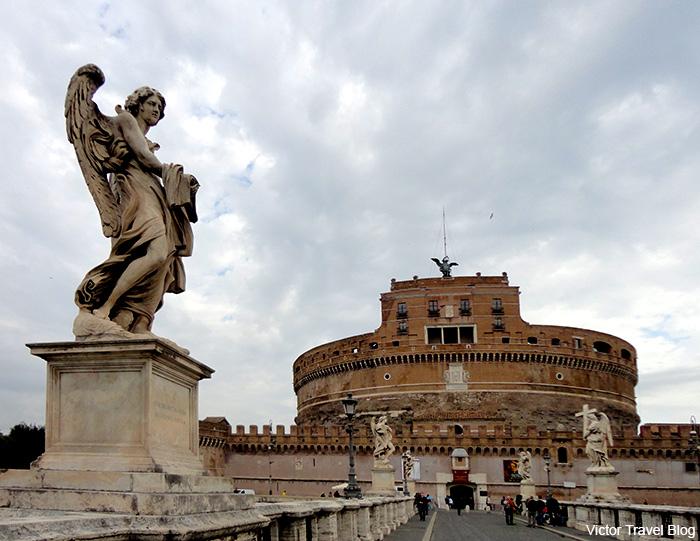 Ponte Sant.Angelo, or the Aelian Bridge, or Pons Aelius, meaning the Bridge of Hadrian. Rome, Italy.