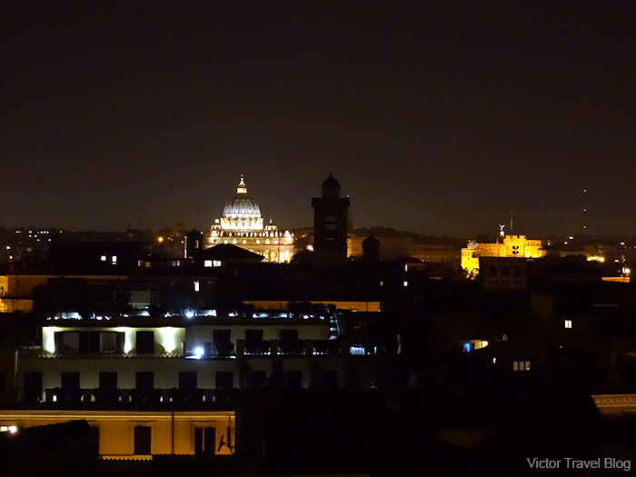 Night view of the dome of St. Peter. Rome, Italy.