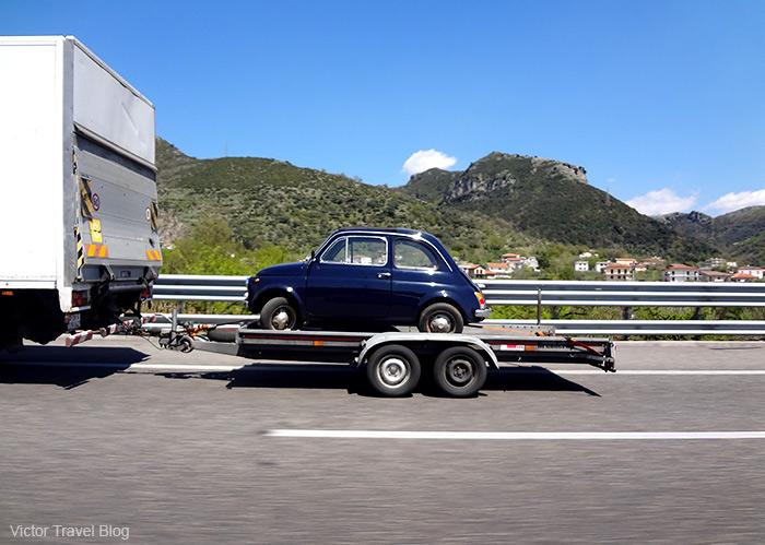 A small Italian car.