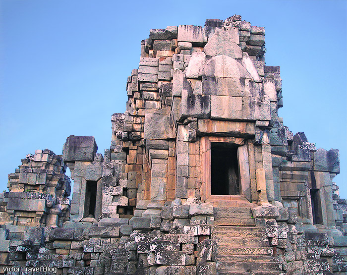 Ta Keo Temple near Siem Reap, Cambodia. Towering but plainly decorated temple-mountain dedicated to Shiva.