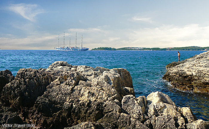The seaview from a cliff in Rovinj. Istria, Croatia.