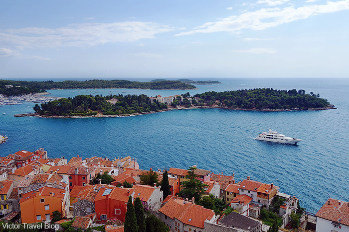 View of Sveta Katarina Island from the belfry of the Church of St. Euphemia. Rovinj, Istria, Croatia.