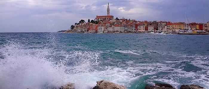 View of Rovinj city from Sveta Katarina island. Istria, Croatia.