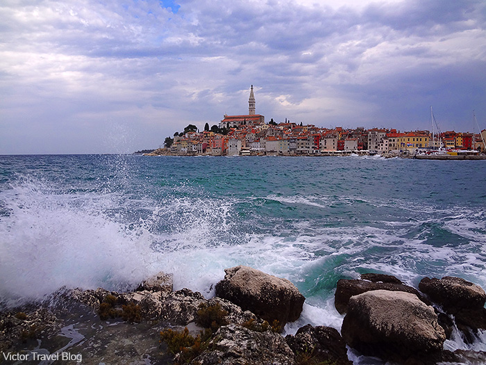 View of Rovinj city from Sveta Katarina island. Istria, Croatia.