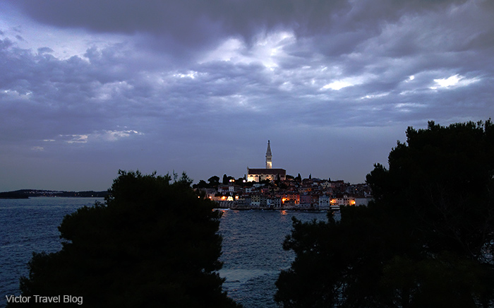 Night view of Rovinj, Istria, Croatia.