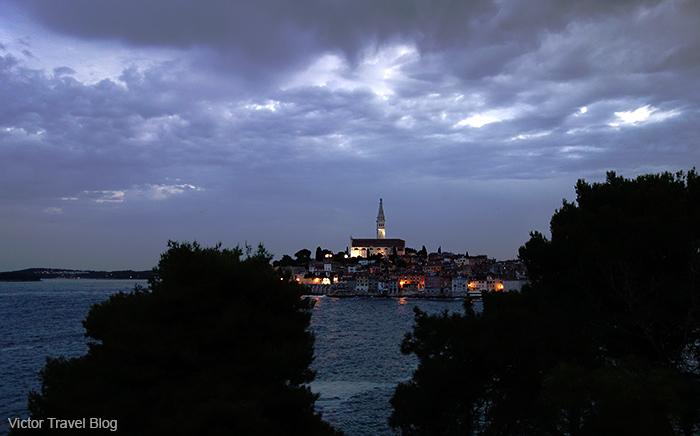 Night view of Rovinj, Istria, Croatia.