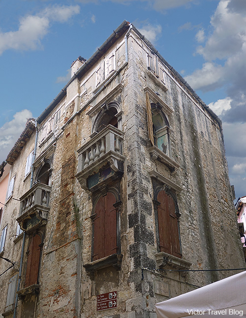 The very old villa in the medieval part of Rovinj. Istria, Croatia.