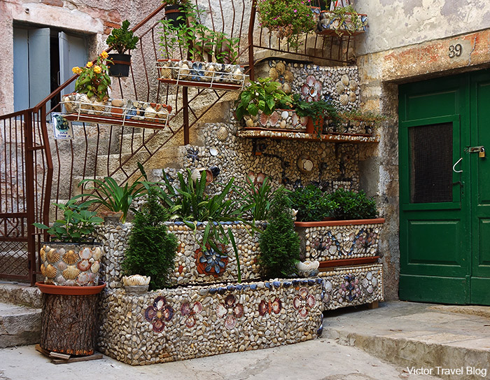A porch decorated with seashells. Rovinj, Istria, Croatia.