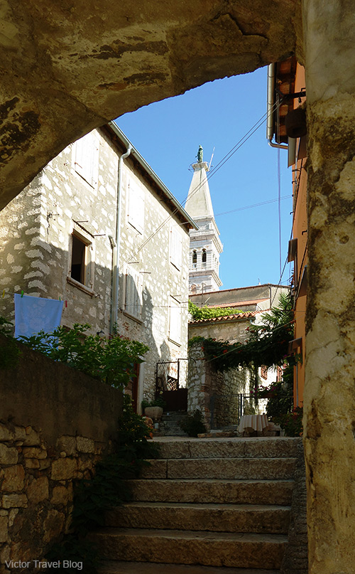 A courtyard of the old Rovinj, Croatia.