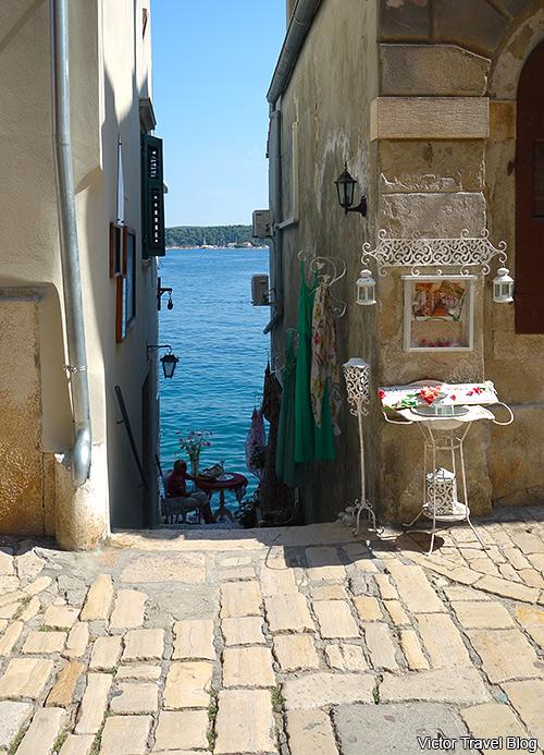 An exit to the sea in the Venetian part of Rovinj. Istria, Croatia.