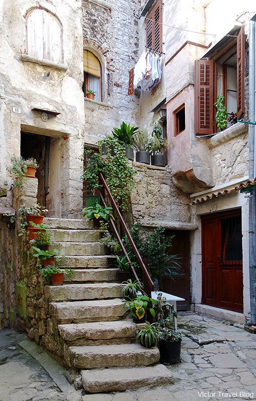 A courtyard in the old Rovinj, Croatia.