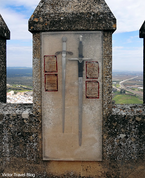 Exhibition of swords on the walls of the Almodovar castle. Andalusia, Spain.