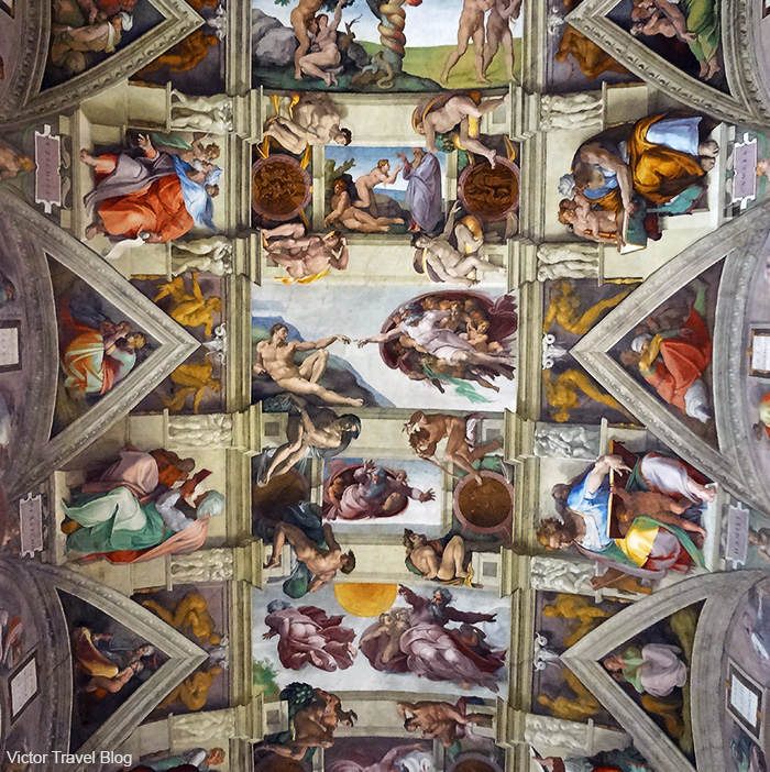 The ceiling of the Sistine Chapel. Vatican, Rome, Italy.