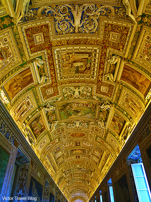 The seiling of the Gallery of Maps of the Vatican Museums. Rome, Italy.
