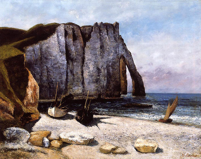 The Cliff at Etretat, the Porte d'Aval oil on canvas, 1869. Jean Desire Gustave Courbet, French painter.