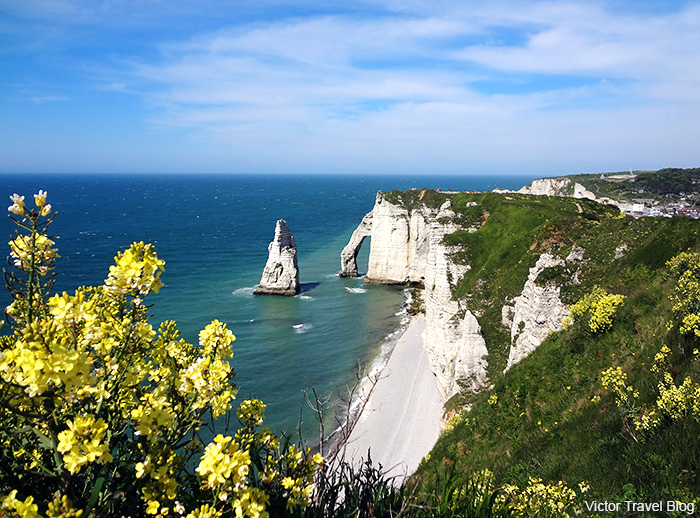 The Arch Porte d'Aval in Etretat. Normandie, France.