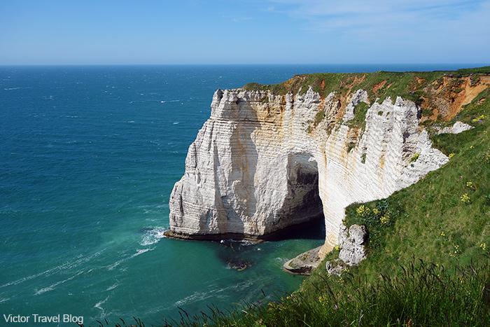 White chalk cliffs of Etretat, French Normandy.
