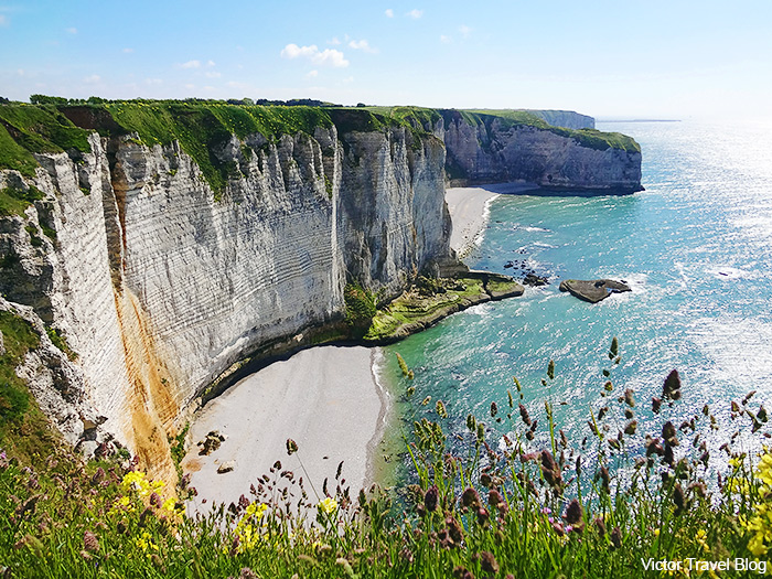 White chalk cliffs of Etretat, French Normandy.