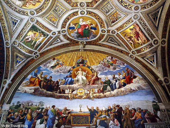 The decorated ceilings of the Vatican Museums. Rome, Italy.