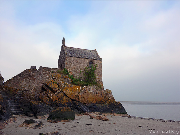 The chapel outside the walls of Mont St. Michel. Normandy, France.