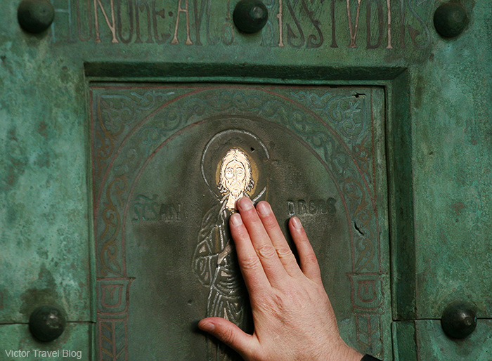 The door of the Amalfi Cathedral. Amalfi, Italy.