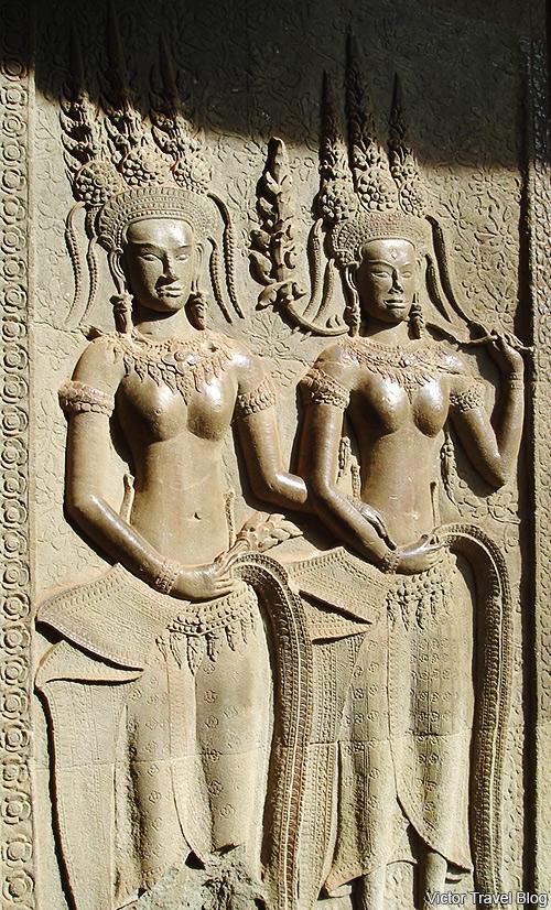Apsaras in Angkor Wat. Cambodia.