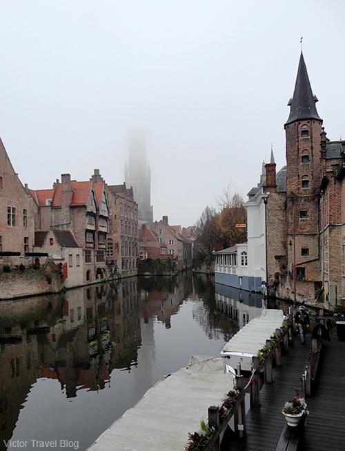 Brugge in fog. Belgium.