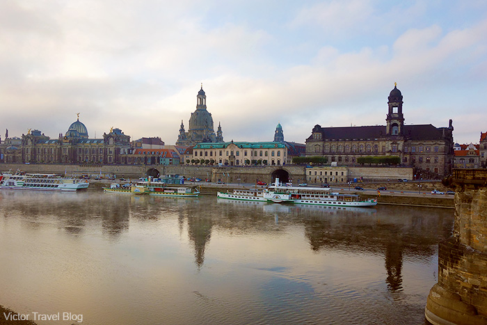 The view of the Bruhl's Terrace from the Augustus Bridge. Dresden, Saxony, Germany.
