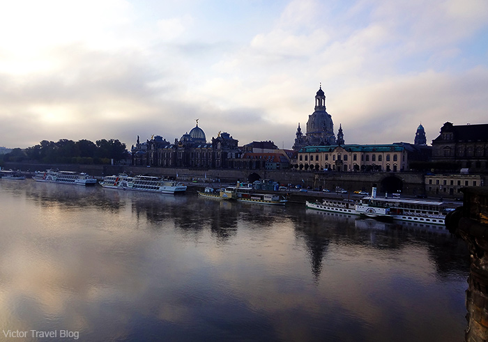 The sunrise on the Elbe River. Dresden, Germany.