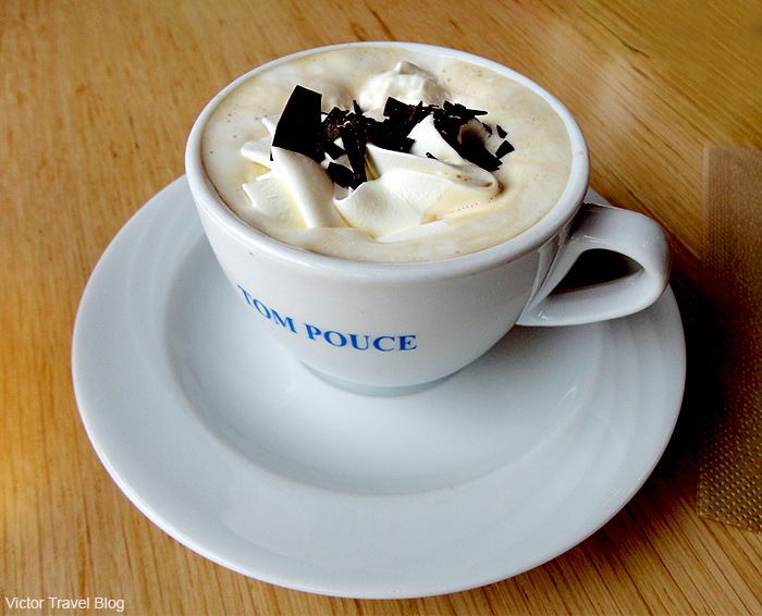Cappuccino with chocolate. Brugge, Belgium.