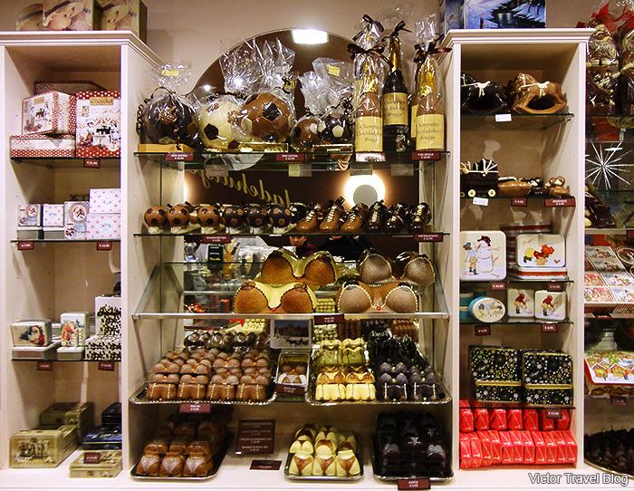 Chocolate showcase. Brugge, Belgium.