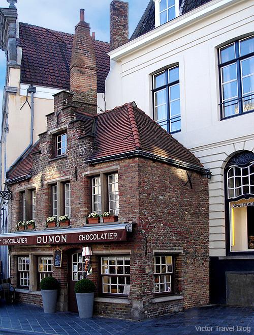 Chocolatier house Dumon. Brugge, Belgium.