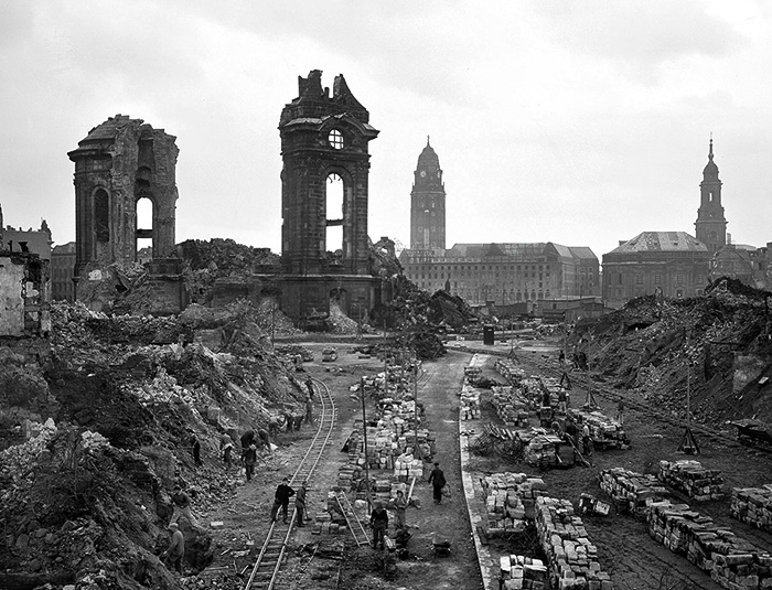Frauenkirche after bombing. Dresden. 1945.