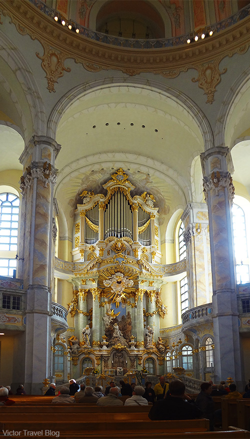 Inside of Frauenkirche. Dresden, Germany.