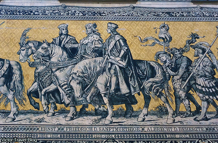 The Prince Elector Frederick II with two his sons, Moritz and Augustus. Mosaic of the Procession of the Dukes. Dresden, Saxony, Germany.
