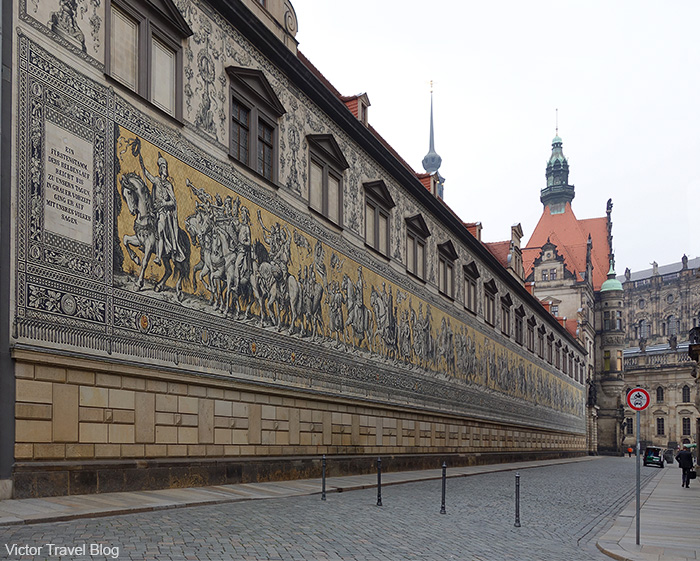The porcelain panel Procession of Princes. Dresden Germany.