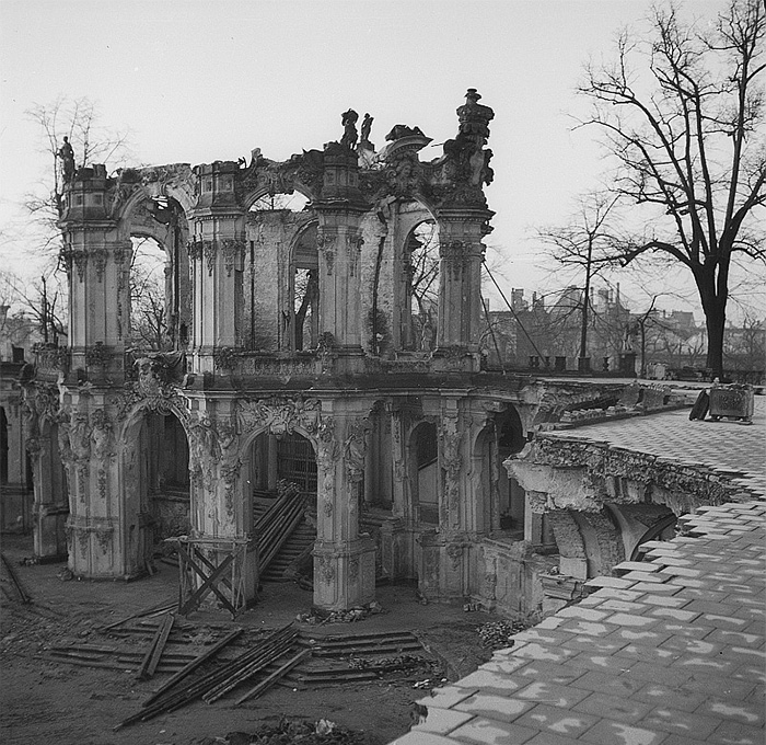 Zwinger Palace after bombing. Dresden. 1945.