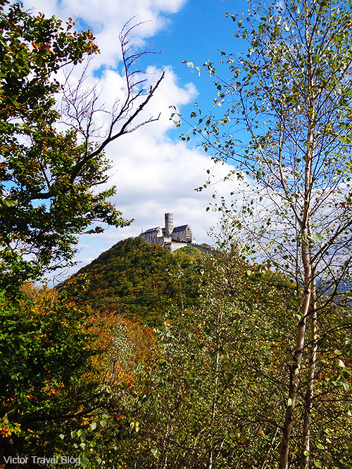The view of Bezdez Castle from the second hill. Bohemia, Czechia.